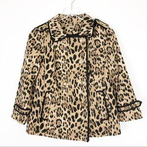 WHBM Leopard Pea Coat Style Swing Coat Size L